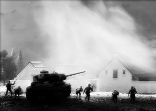 1/72 Russian Village Diorama 130 crop bw