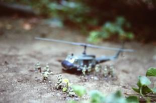 Anachronsim alert! Airfix U.S. Paratroops and Huey.